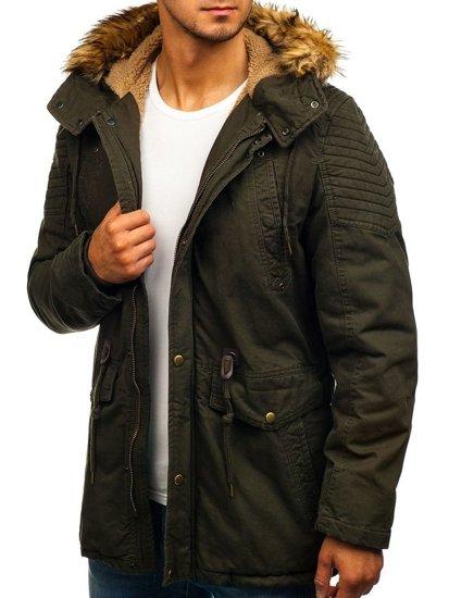 Kurtka męska zimowa parka khaki Denley 5810