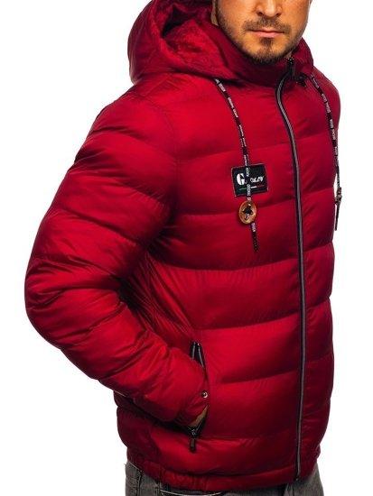 Kurtka męska zimowa sportowa pikowana bordowa Denley 50A200