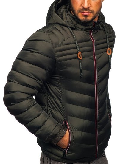 Kurtka męska zimowa sportowa pikowana khaki Denley 50A178