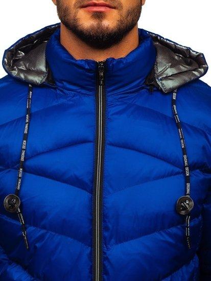 Kurtka męska zimowa sportowa pikowana niebieska Denley 50A223