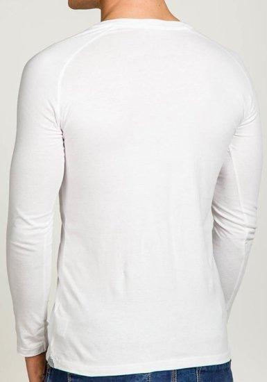 Longsleeve męski bez nadruku biały Denley 5547