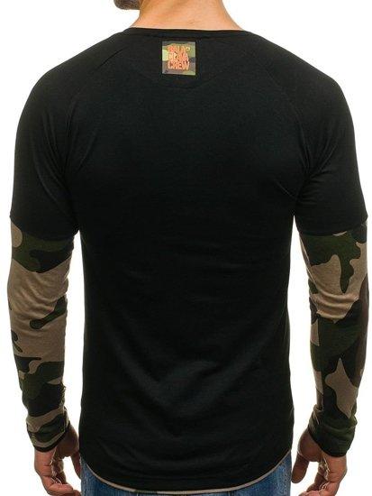 Longsleeve męski czarno-khaki Denley 1162
