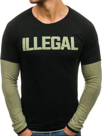 Longsleeve męski czarno-zielony Denley 1162