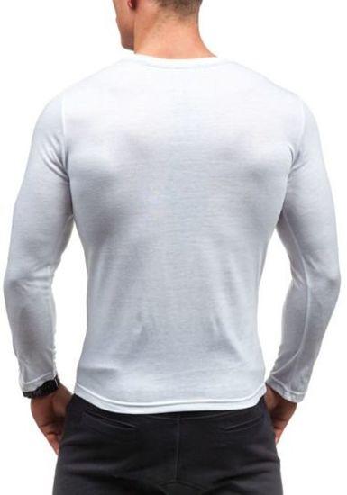 Longsleeve męski z nadrukiem biały Denley 9994
