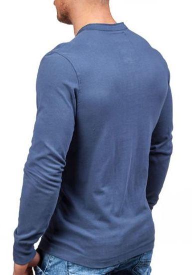 Longsleeve męski z nadrukiem niebieski Denley 5037