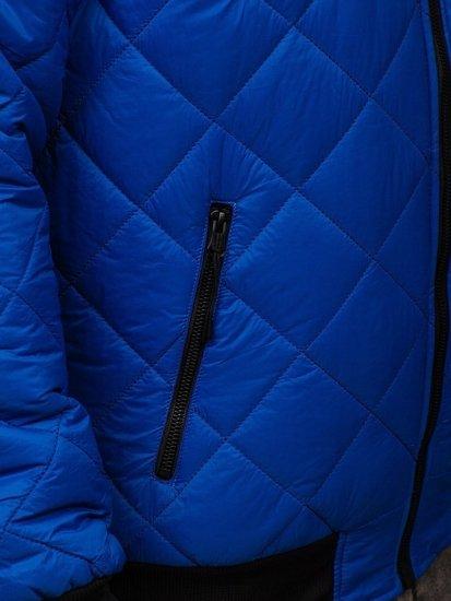 Niebieska przejściowa kurtka męska pikowana bomberka Denley MY-01