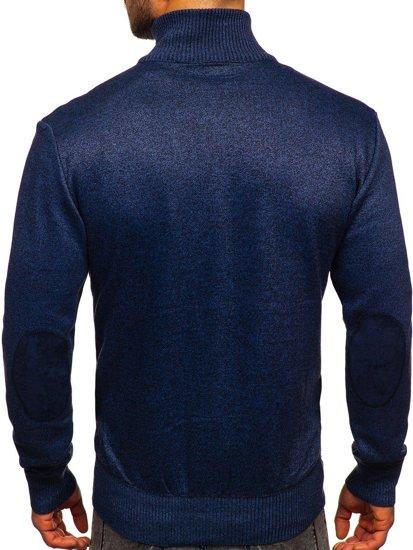 Niebieski sweter męski ze stójką rozpinany Denley H2057
