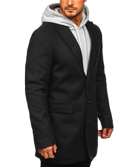 Płaszcz męski zimowy czarny Denley 1047C