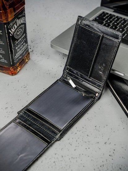 Portfel męski skórzany czarny 3206