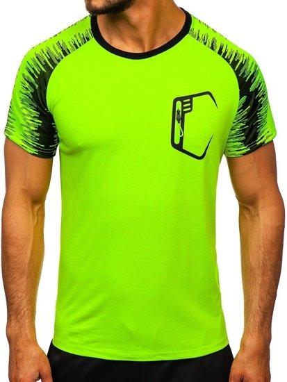 Seledynowy T-shirt treningowy męski z nadrukiem Denley KS2072