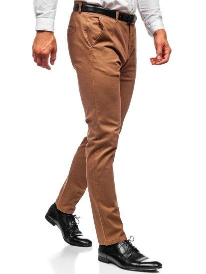Spodnie chinosy męskie camelowe Denley 1120