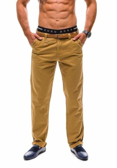 Spodnie chinosy męskie camelowe Denley 6185
