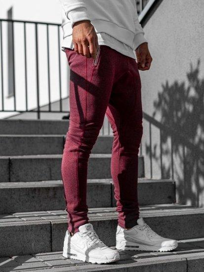 Spodnie dresowe baggy męskie bordowe Bolf 43S-S