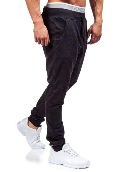 Spodnie dresowe baggy męskie czarne Denley 2587