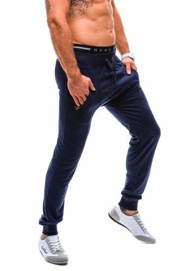 Spodnie dresowe baggy męskie granatowe Denley 7027