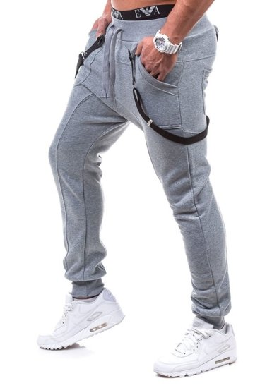 Spodnie dresowe baggy męskie szare Denley 1106