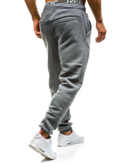 Spodnie dresowe baggy męskie szare Denley x206