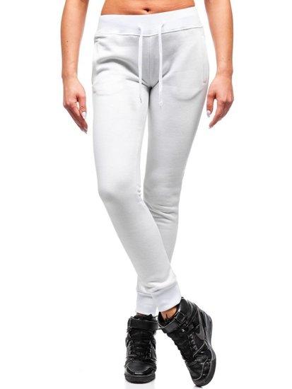 Spodnie dresowe damskie białe Denley 77001