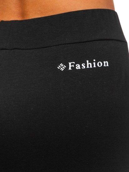 Spodnie dresowe damskie czarno-białe Denley W9995