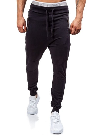 Spodnie dresowe joggery męskie czarne Denley 1896
