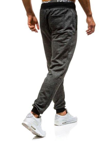 Spodnie dresowe joggery męskie czarne Denley 7002