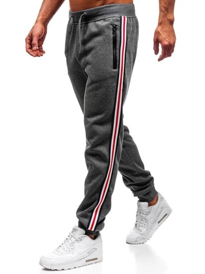 Spodnie dresowe joggery męskie grafitowe Denley KZ03
