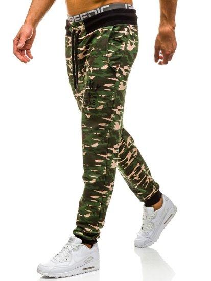 Spodnie dresowe joggery męskie moro-zielone Denley 5121