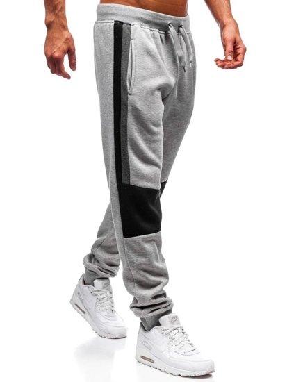 Spodnie dresowe joggery męskie szare Denley KZ01