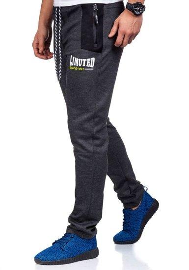 Spodnie dresowe męskie antracytowe Denley 3741