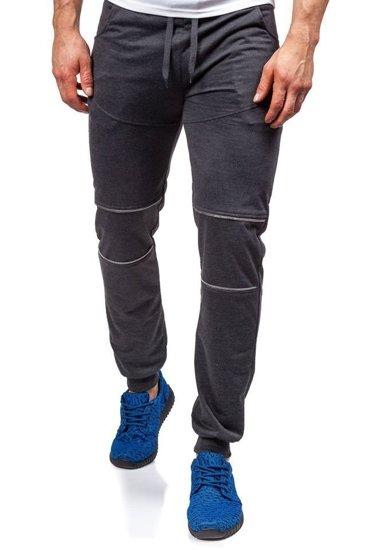 Spodnie dresowe męskie antracytowe Denley 6015