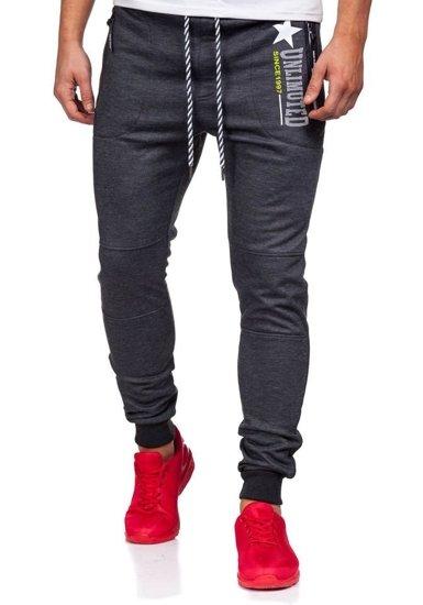 Spodnie dresowe męskie antracytowo-białe Denley 3720