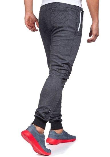 Spodnie dresowe męskie antracytowo-białe Denley 3724