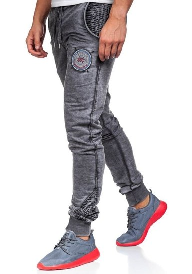 Spodnie dresowe męskie czarne Denley 2764