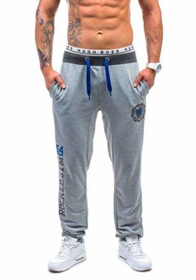 Spodnie dresowe męskie szare Denley 1044