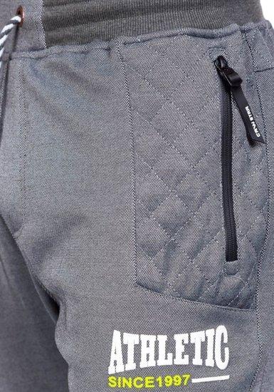 Spodnie dresowe męskie szaro-czarne Denley 3724