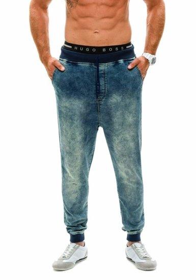 Spodnie jeansowe baggy męskie granatowe Denley 007b