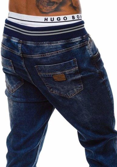 Spodnie jeansowe baggy męskie granatowe Denley 810-2