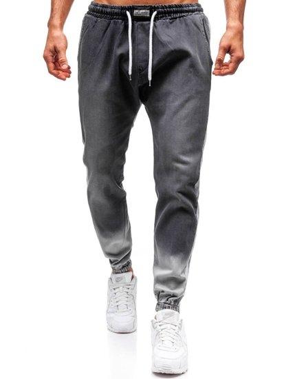 Spodnie jeansowe joggery męskie antracytowe Denley 2047