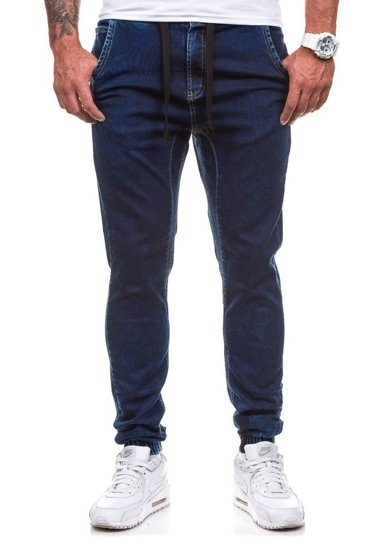 Spodnie jeansowe joggery męskie atramentowe Denley 4156-1