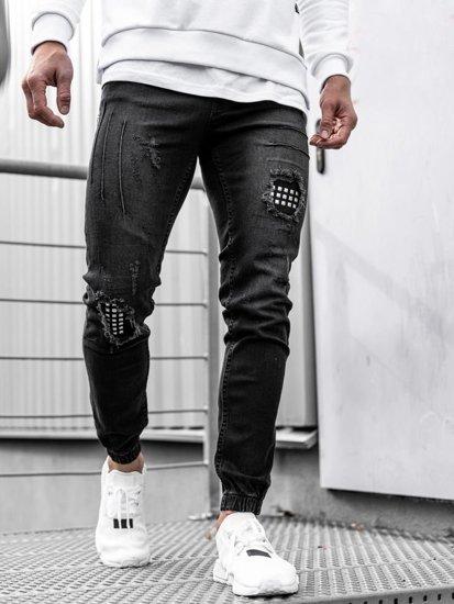 Spodnie jeansowe joggery męskie czarne Denley 2036-1