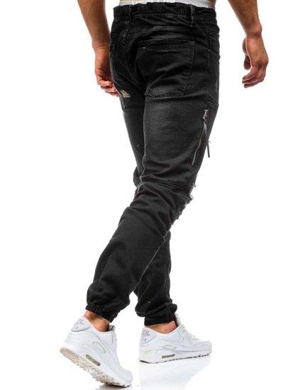 Spodnie jeansowe joggery męskie czarne Denley 457