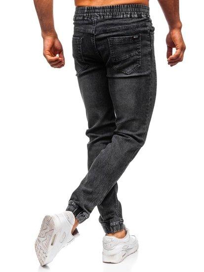 Spodnie jeansowe joggery męskie czarne Denley HY562