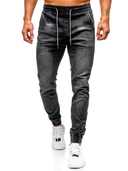 Spodnie jeansowe joggery męskie czarne Denley  KA1073
