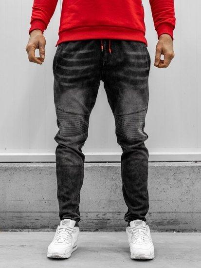 Spodnie jeansowe joggery męskie czarne Denley KK1065