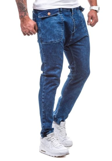Spodnie jeansowe joggery męskie granatowe Denley 811