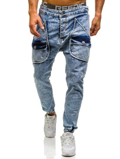 Spodnie jeansowe joggery męskie jasnoniebieskie Denley 814