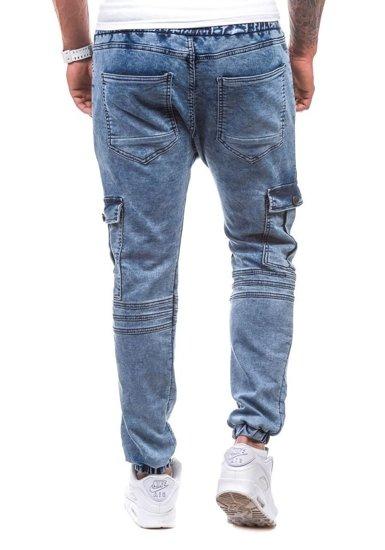 Spodnie jeansowe joggery męskie niebieskie Denley 805