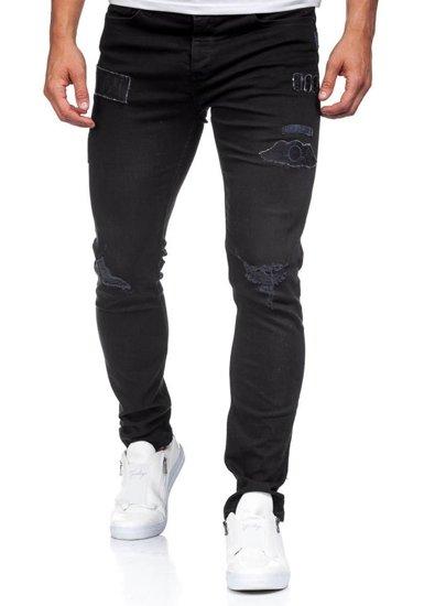 Spodnie jeansowe męskie czarne Denley 396-1