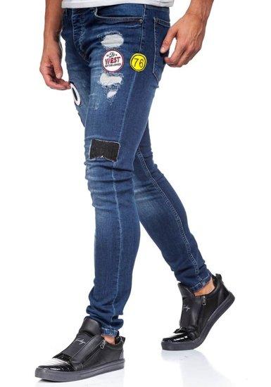 Spodnie jeansowe męskie granatowe Denley 298