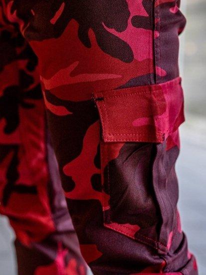 Spodnie joggery bojówki męskie moro-czerwone Bolf 0404